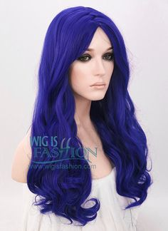 """21"""" Long Curly Royal Blue Fashion Synthetic Hair Wig WIG093"""