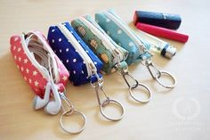Items similar to Fabrics Chapstick keychain, Chapstick cozy, Chapstick holder keychain , Lipstick Case Zipper Key Chain, Lip Balm Holder on Etsy Small Sewing Projects, Sewing Hacks, Sewing Crafts, Costura Diy, Chapstick Holder, Earbud Holder Diy, Lipstick Case, Sewing Patterns, Purses