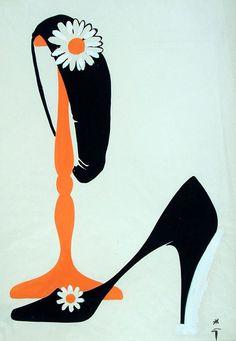 Art by René Gruau for International Textiles, 1995