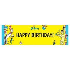 Dr. Seuss Birthday Banner - Large, Yellow