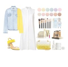 """""""Jeans Jacket"""" by forever-lover1 ❤ liked on Polyvore featuring T By Alexander Wang, Off-White, ALDO, Moschino, Herbivore, Marc Jacobs, Michael Kors and Deborah Lippmann"""