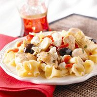 Mediterranean Chicken and Pasta  MAKES: 4 servings  CARB GRAMS PER SERVING: 36 - it gets 4 - 4.5 stars but you have to like greek food, i.e. feta, olive, etc.
