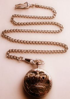 Royal Crown Pocket Watch, Silver Pocket Watch Necklace or Pocket Watch Chain, Victorian Crown Watch