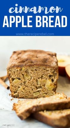 This Apple Bread is made with warm cinnamon, tender chunks of apple, applesauce, greek yogurt and whole wheat flour for a healthier twist that tastes indulgent! #bread #apple #recipe #baking #breakfast | apple recipes | apple recipe | healthy baking | quick bread | quick breads | breakfast recipes Apple Desserts, Apple Recipes, Baking Recipes, Delicious Desserts, Fall Recipes, Breakfast Cupcakes, Breakfast Bread Recipes, Breakfast Dishes, Apple Cinnamon Bread
