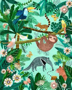 Jill Friends among the Jungle by Rebecca Jones Stretched Canvas Wall Art Wall Art wayfair wall art Wallpaper Kawaii, Retro Wallpaper, Art Wall Kids, Art For Kids, Jungle Drawing, Jungle Wall Stickers, Wall Decals, Jungle Illustration, Posca Art