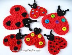 Crochet Heart Ladybug Appliqué http://www.goldenlucycrafts.com/free-patterns/crochet-heart-ladybug-applique