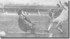 9th February 1972. Allan Clarke scores again as he pounces on a an error by Liverpool captain Tommy Smith to seal the FA Cup 4th Round Replay tie, at Elland Road.