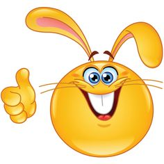 This cute rabbit smiley has its thumb up for something great.