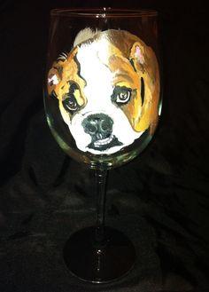 Bull Dog Pet Portrait Wine Glass by thepaintedflower on Etsy
