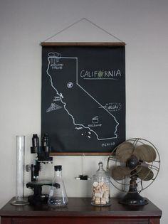 Chalkboard Any State Map by dirtsastudio on Etsy, $45.00