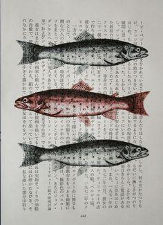 Three Fish Print on Vintage Japanese Book Page #print #fish #japanese