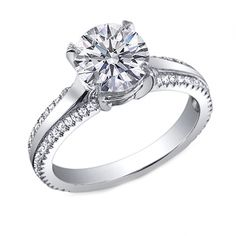I love this ring.  I think I might just redo my engagement with this setting!      Round Diamond Engagement Ring Double Row Pave band 0.8 TCW in 14K White Gold