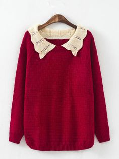 Red sweater with oversized knitted collar