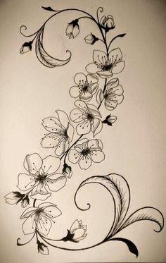 black and white cherry blossom tattoo designs Tattoo Fleur, Flor Tattoo, Tattoo Cherry, Cherry Blossom Tattoos, Body Art Tattoos, New Tattoos, Tatoos, Bauch Tattoos, Geniale Tattoos