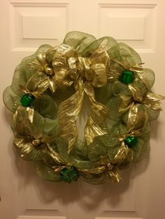 Green and gold Christmas wreath, holiday decor, Christmas decor deco mesh wreath by ConradCreationsStore on Etsy