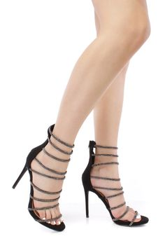 Black Cage Strappy Fabric High Heel
