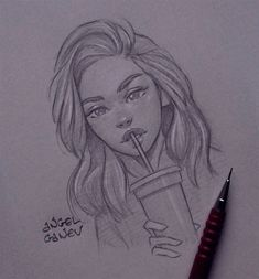 Break - Day # 333 von AngelGanev - Zeichnungen menschen - - New Ideas Girl Drawing Sketches, Art Drawings Sketches Simple, Pencil Art Drawings, Realistic Drawings, Cute Drawings, Drawing Faces, Drawing Ideas, Pencil Sketching, Drawing Tips