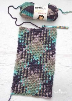 Have you heard of planned color pooling?! Many variegated yarns have a repeating sequence of colors. Patterns like this can be created with simple stitches! This is Bernat Softee Chunky yarn in Shadow. With a size H hook, I chained 28 and used the moss stitch. I am amazed and can't wait to experiment more!