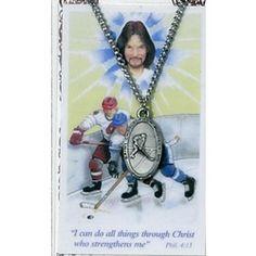 Just for Ice Hockey players: Saint Christopher Hockey Medal with Prayer Card. $9.95 #CatholicCompany
