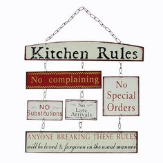 Kitchen Rules Tin Plaque with Chains by Headline Collection - The Pink Monkey Company Ltd £12.99