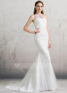 Trumpet/Mermaid Scoop Neck Court Train Zipper Up Regular Straps Sleeveless Church General Plus No Spring Summer Fall Ivory Tulle Lace Wedding Dress