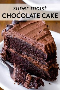This is my favorite homemade chocolate cake recipe. With a super moist crumb and light texture, this rich chocolate cake recipe will soon be your favorite too. Top with chocolate buttercream. Recipe on sallysbakingaddiction.com #chocolate #cakerecipes #birthdaycake Super Moist Chocolate Cake, Amazing Chocolate Cake Recipe, Best Chocolate Cake, Chocolate Recipes, Chocolate Buttercream Recipe, Chocolate Cake From Scratch, Chocolate Chocolate, Triple Chocolate Cakes, Baking Chocolate Cake