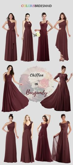 Chiffon long bridesmaid dresses in burgundy looks so attractive. They can be made into all sizes to flatter your figures. Their fashionable styles will never disappoint you!