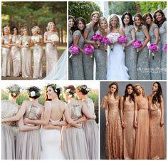 Braidesmaids Dresses // Wedding Ideas // Metallic decoration // Gold #wedding