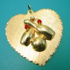 I Heart Bowling 14k Gold Charm Pendant- Vintage, via Etsy.