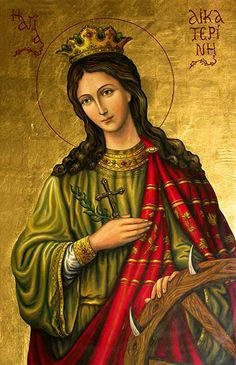 Saint Catherine of Alexandria, feast day November 25. Catherine was a virgin and martyr. She is the patron saint of philosophers and preachers.