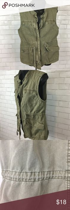 Green Military Inspired Vest -Great for Fall Perfect for those casual days. Pair with any long sleeve and jeans, or rock a black skater dress with tights and boots for a different spin! There is light, noticeable fading where buttons and waist drawstring are but not sure if intended or from normal wear. Either way adds to the look per se Jackets & Coats Vests