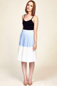 1f77c28c1d0656 SS14 Pretty Pleat Skirt - Blue Cream - Sugarhill Boutique Blue Cream