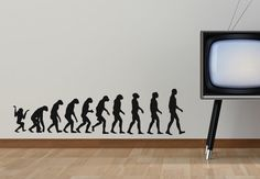 Evolutionary Stages Wall Sticker. This fabulous wall art depicts the evolutionary stages of humans that started off from early gorillas eventually transforming into full fledged humans beings. http://walliv.com/evolutionary-stages-wall-sticker-art-decal