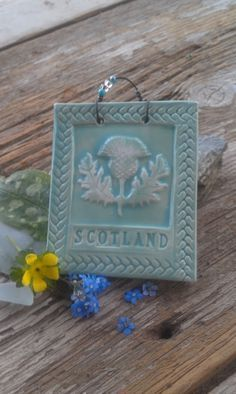 Scotland Thistle Tile in Celedon by twigcrafts on Etsy, $14.00