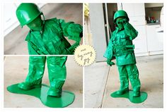 "Have fun making him into the army guy he's imagining – the green plastic one. basically, buy or gather gear, and paint it all green. Add a cardboard ""puddle"" for him to stand on and nylons spray painted green over the face."