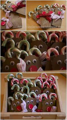Sweet treat for students in class. DIY craft for Christmas. Candy cane reindeer. Gift tag ideas.