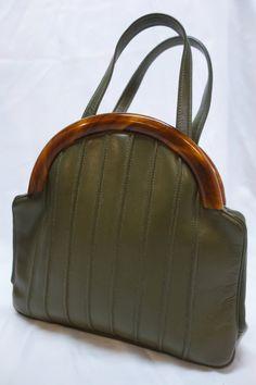 INGBER Dark Olive Leather and Bakelite Handbag by Vintageables