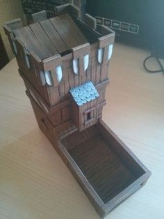 Making a Formboard Dice Tower: 9 Steps Nerd Crafts, Diy Crafts, Larp, Wooden Board Games, Wooden Dice, Dice Tower, Dice Box, Tabletop Games, Fun Games