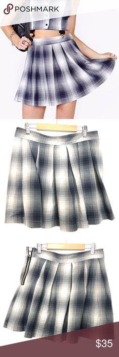 2bcfd8a686 UNIF Dropout Plaid Pleated Mini Skirt UNIF Womens Sz L Plaid Dropout School  Uniform Pleated Grunge