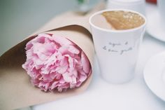 Coffee and flowers.