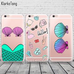 Graffiti Mermaid Celular Shell Case For iPhone 6 6s 5 5s se 7/7Plus Transparent Silicone Protective Clear with Design Coque