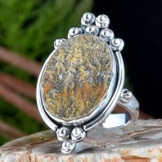 925 SOLID STERLING SILVER SCENIC DENDRITEC AGATE RING 7.56g DJR11386 SZ-6.5 #Handmade #Ring