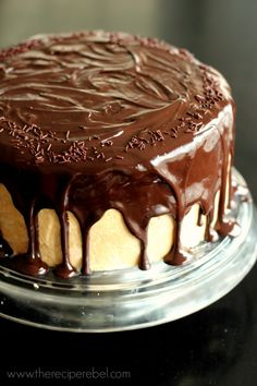The Ultimate Chocolate Peanut Butter Cake: two fudgy chocolate cake layer, a double chocolate chip cookie and a creamy chocolate cheesecake. The ultimate indulgence! Cupcakes, Cupcake Cakes, Poke Cakes, Layer Cakes, Just Desserts, Delicious Desserts, Cake Pops, Cupcake Recipes, Dessert Recipes