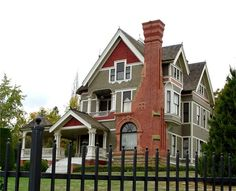 Look at the window built into the brick of the fireplace. And the little porch above the front door. Beautiful! Victorian in So. Oregon-Jacksonville