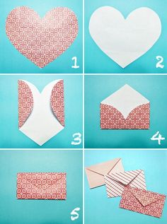 Don't buy envelopes for those special cards and invitations, make your own! A collection of templates and tutorials on how to make paper envelopes. How To Make An Envelope, Diy Envelope, Heart Envelope, Origami Envelope, Valentines Bricolage, Valentines Diy, Make Your Own Card, Invitation Cards, Wedding Invitations