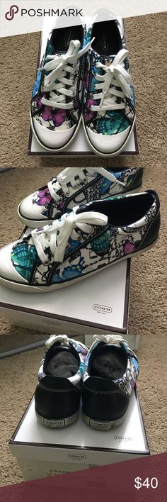 Coach Sneakers Coach purple, teal, blue black and white butterfly design. Back of the shoe is black leather. Some wear/black markings on the bottom white sole of the shoe. Smoke Free Home! Coach Shoes Sneakers