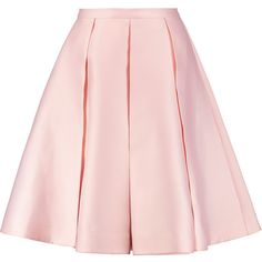 Emilia Wickstead Duchesse-satin culottes (€725) ❤ liked on Polyvore featuring pants, capris, bottoms, pastel pink, pink high waisted pants, pleated wide leg trousers, pleated pants, pastel pants and high waisted wide leg pants