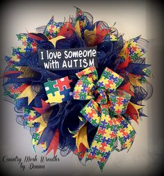 Deco Mesh Wreath with Autism Puzzle Ribbon and Puzzle Pieces