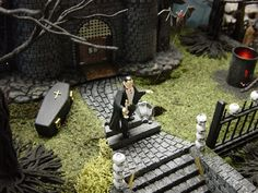 D56 Halloween Village Display - inspiration - foam pathway and stairs