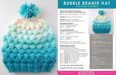 This Bubble Beanie Hat knitting pattern is my new favorite winter fashion accessory! My Bubble Knit Stitch Pattern became quickly popular, so I thought it would be great if I designed a hat that we can all knit up together this winter. Knitted Heart Pattern, Beanie Knitting Patterns Free, Beanie Pattern, Easy Knitting, Loom Knitting, Knitting Stitches, Vogue Knitting, Knitted Hats, Crochet Hats